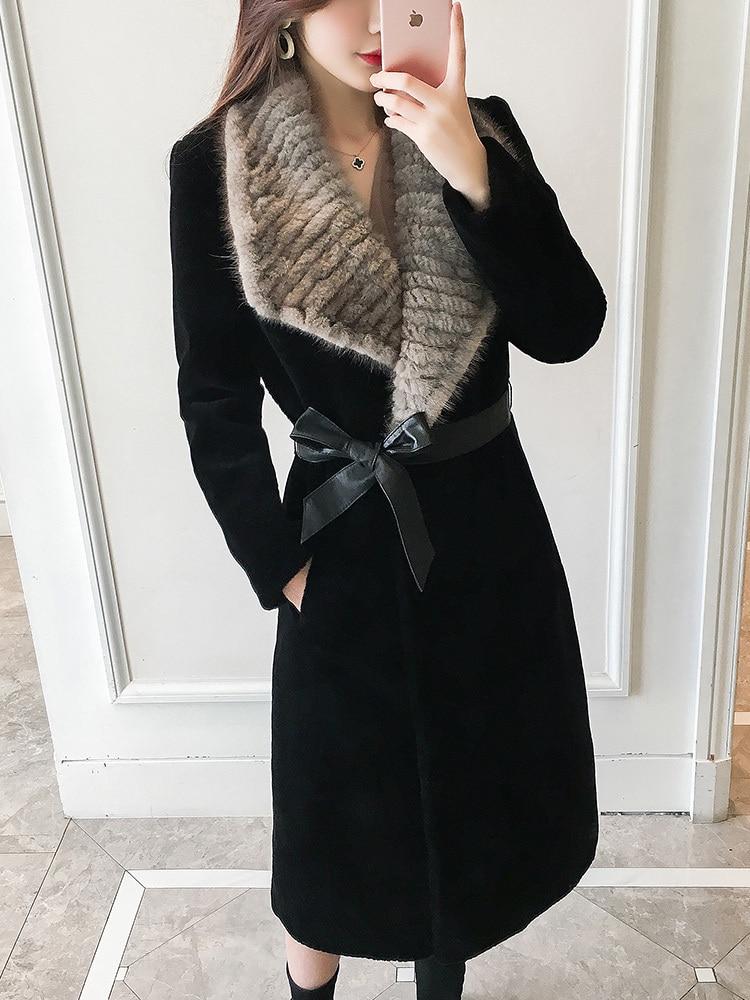 Fur Real 2020 Coat Female Sheep Shearling Jacket Winter Coat Women Mink Fur Collar 100% Wool Coats Long Jackets MY4595 S S