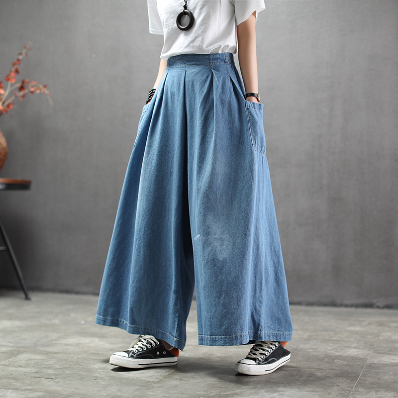 National Style Plus Size Jeans Woman 2020 New Spring Autumn Retro Solid Washed Pocket Loose Wide Leg Pants Casual Woman Jeans