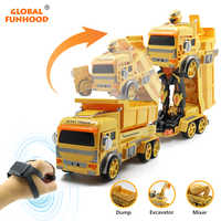 Gesture Control Car RC Transform Robot Toy Dump Truck Excavator Remote Control Cars Gift Toys for Kids Toys for Boys VS Huina