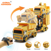 RC Transform Car Robot Toy Dump Truck Excavator Gesture Remote Control Gift Toys for Kids Toys for Boys GW130 VS Dropship Huina(China)