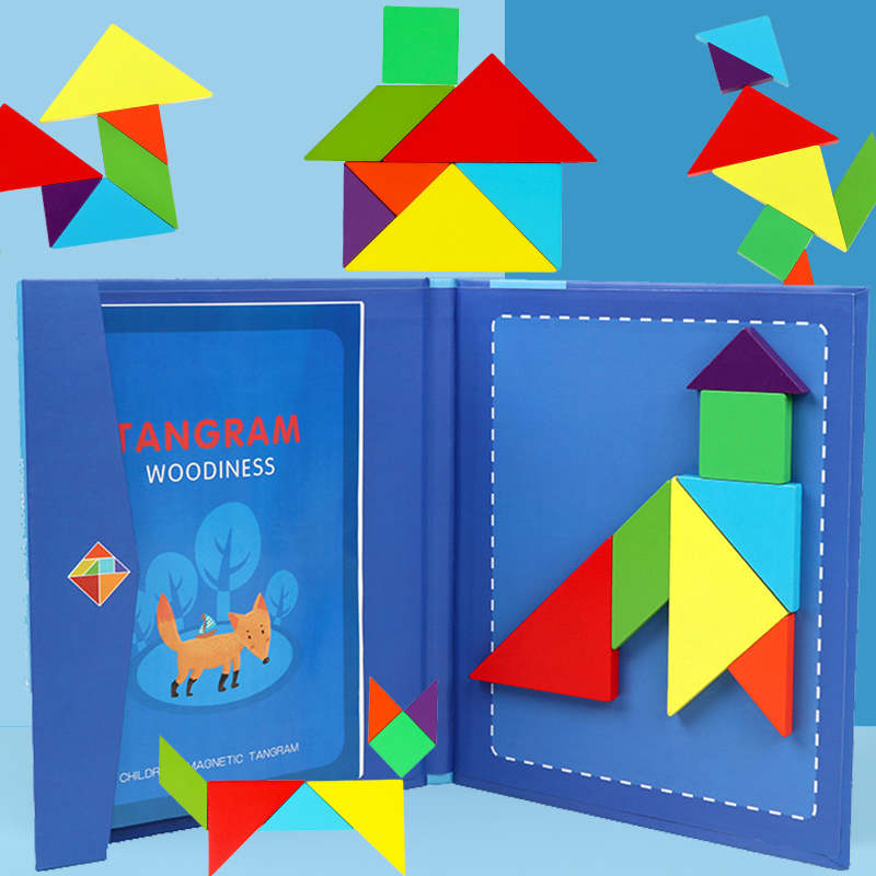 Montessori Educational Magic Book Magnetic 3D Puzzle Jigsaw Tangram Game Creative  Puzzle Magnetic Jigsaw Gift Boys Girls PT-12