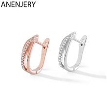 ANENJERY 925 en argent Sterling multicouche Simple Micro pavé Zircon boucles d'oreilles pour les femmes bijoux cadeaux en gros S-E1355