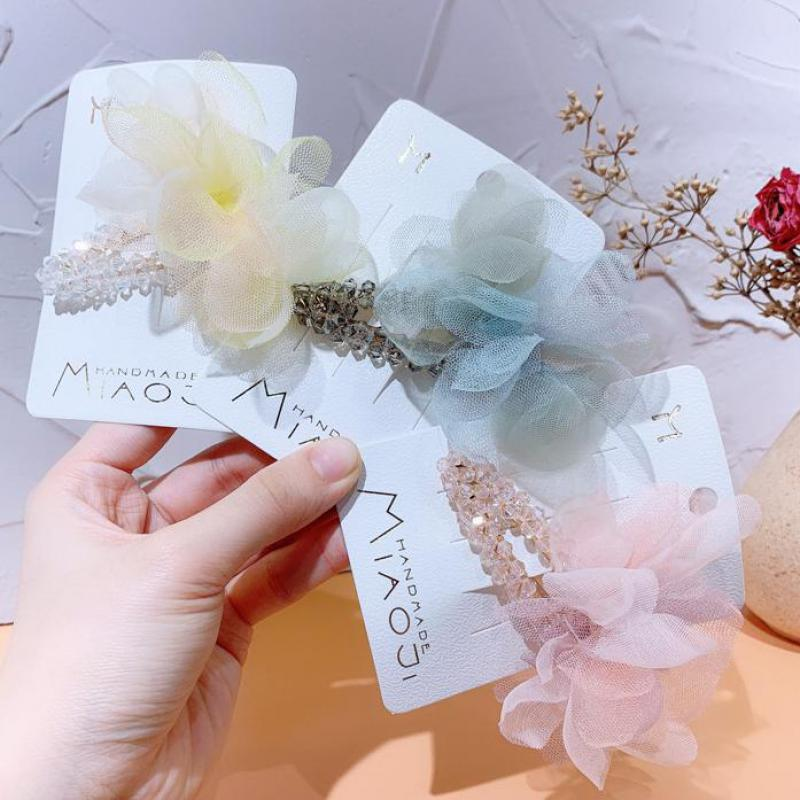 Spring And Summer New Korean Girls Kids Crystal Hairpin Hair Ornament Small Fresh Mesh Bow Bb Clip Headdress For Woman