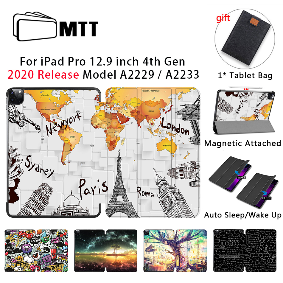 MTT 2020 Case For iPad Pro 12 9 inch A2229 A2233 Magnetic PU Leather Flip Stand