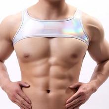 Сексуальная мужская Нижняя Майка искусственная кожа полиуретан борцовское трико бикини подтяжки Teddies нижнее белье половина нижнее белье