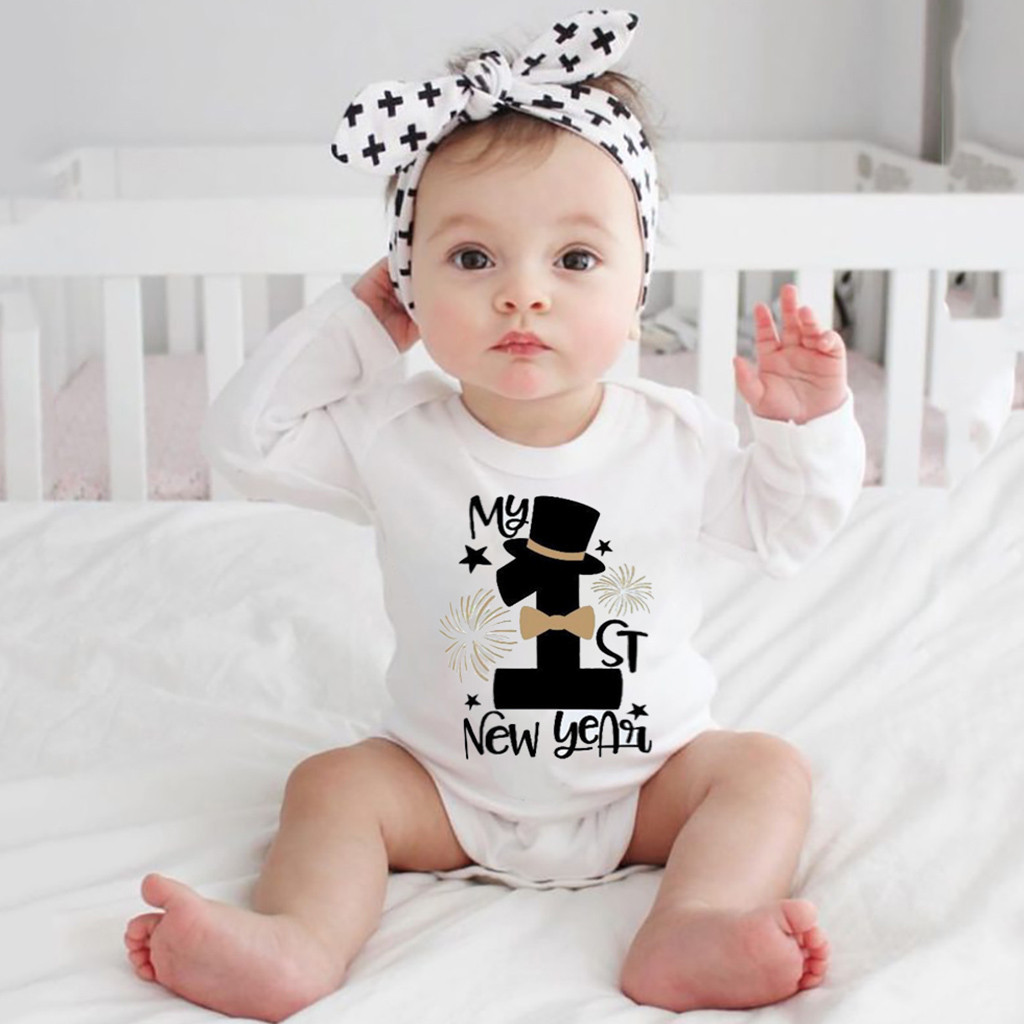 Newborn Infant Baby Girls Boys Happy New Years Jumpsuit Romper Outfits Clothes