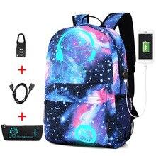 Mochila escolar luminosa anti roubo, bolsa escolar para meninos e meninas com fechamento usb escolar