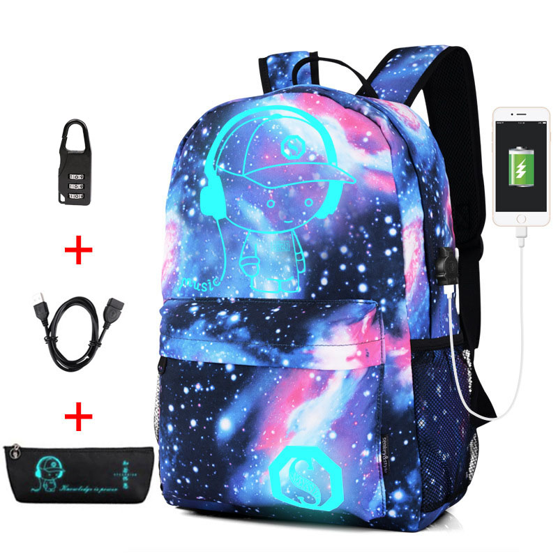 New Anti-thief Bag Luminous School Bags For Boys Girls Student School Backpack Mochila With USB Charging Port Lock Schoolbag