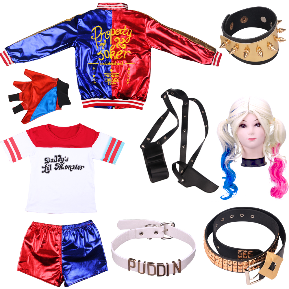Halloween Suicide Squad Harley Quinn Coar T-shirt Suits Cosplay Costumes For Children Girls Holiday Carnival Party  Dress Up