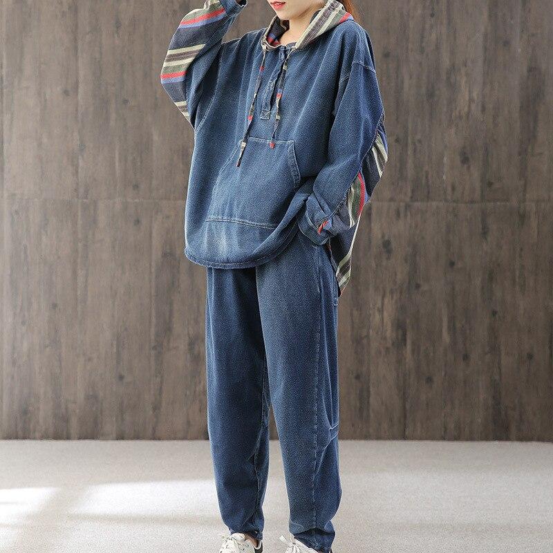 Max Lulu 2020 primavera moda coreana señoras suelta dos piezas conjuntos mujer Denim Vintage trajes ropa informal con diseño de varias telas Tops y pantalones - 4