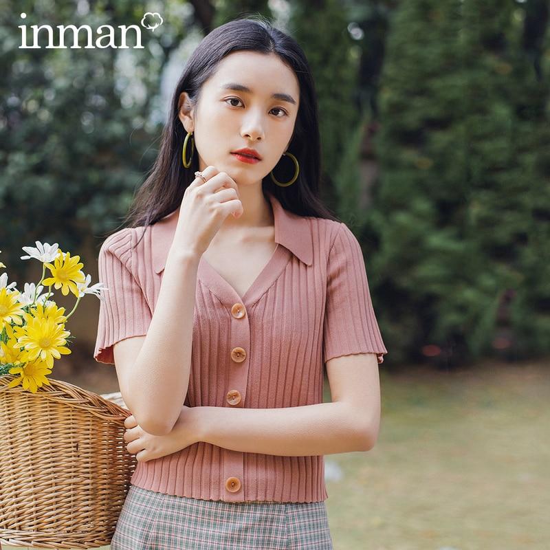 INMAN Retro Style 2020 Summer New Arrival Lapel Vertical Grain Leisure Short Sleeve T-shirt