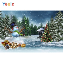 Yeele Christmas Snowman Photocall Forest Pine Decor Photography Backdrops Personalized Photographic Backgrounds For Photo Studio