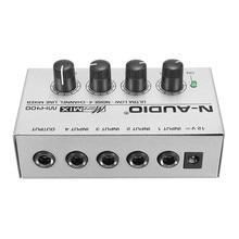 Mezclador de Audio LEORY, 12V, ultradelgado, Mezclador de sonido para música de 4 canales, consola DJ, Mezclador para Audio, PC, Karaoke profesional