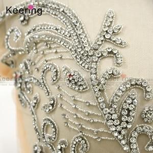 Image 3 - On line di un personaggio famoso argento tessuto di strass corsetto di applique per il vestito da sera pannello WDP 266