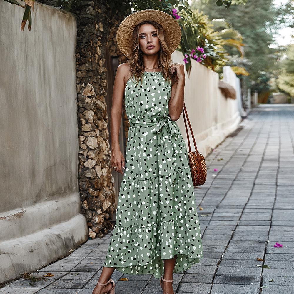 2020 New Summer Dress Women Dots Print Ruffles Sexy Party Boho Dress Streetwear Retro Robe Femme Vestidos