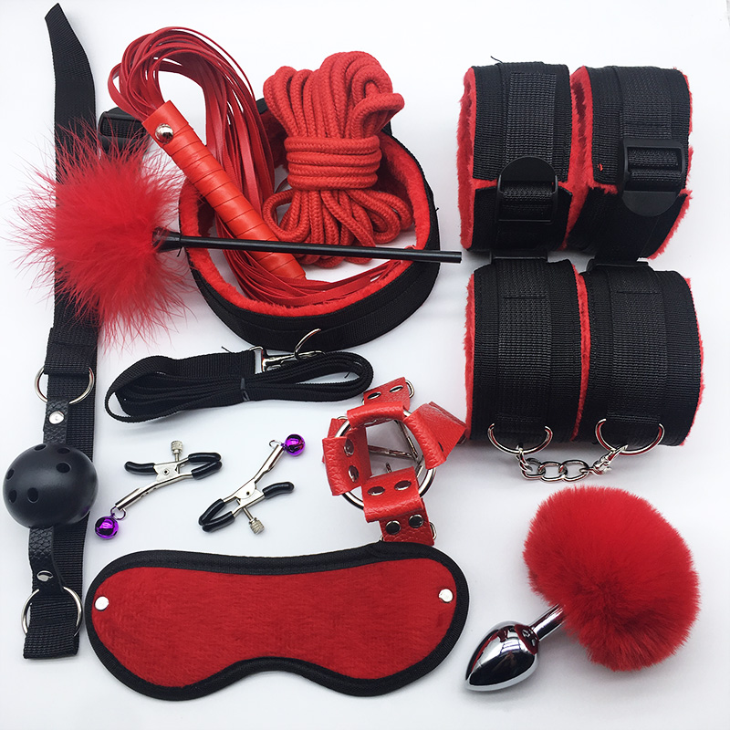 11Pcs set BDSM Sex Bondage Set Handcuffs Gag Mask Whip Erotic Toys Adult Sex Toys for