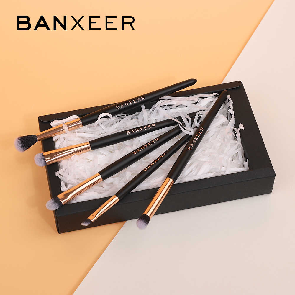 Banxeer 5 Stks/partij Make-Up Kwasten Set Voor Mengen Oogschaduw Concealer Lip Eye Make Up Brush Beauty Makeup Tools Met Gift doos