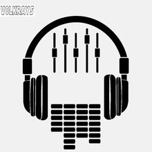 Volkrays Fashion Car Sticker Headphones Music Dj Rock Accessories Reflective Waterproof Vinyl Decal Black/Silver,13cm*10cm(China)