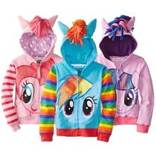 Толстовки с капюшоном для девочек; весенние повседневные толстовки для девочек с рисунком «Маленький Пони»; детские пальто с длинными рукавами; свитер для девочек; одежда для детей