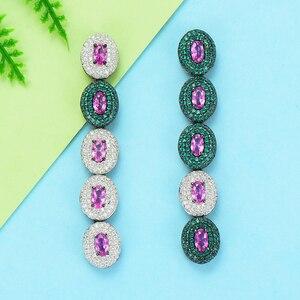 Image 1 - GODKI boucles doreilles pour femmes, boucles doreilles de luxe en forme de goutte deau, en Zircon cubique, de dubaï, indien, tendance, pour mariage