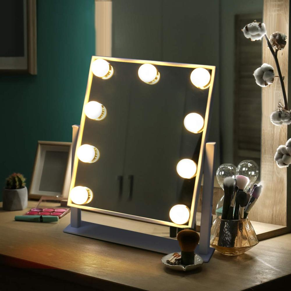Hollywood Style Makeup Mirror With Lights Cosmetic Lighted Vanity Mirror 9x3W Dimmable LED Bulbs Lighted 10x Magnifying Mirror