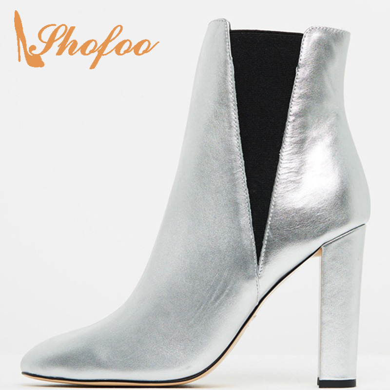 Silver Super High Chunky Heels Ankle Boots Woman Round Toe Elastic Band Large Size 33 35 38 Ladies Spring Shoes Booties Fashion