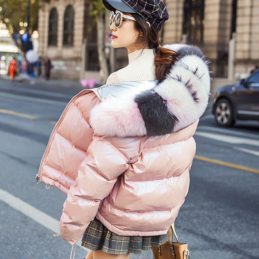 Women   Down     Coat   Hooded Thicken Wear On Both Sides Winter   Down   Jacket Plus Size Glossy Parka   Coats   Female Korean Ladies Outerwear