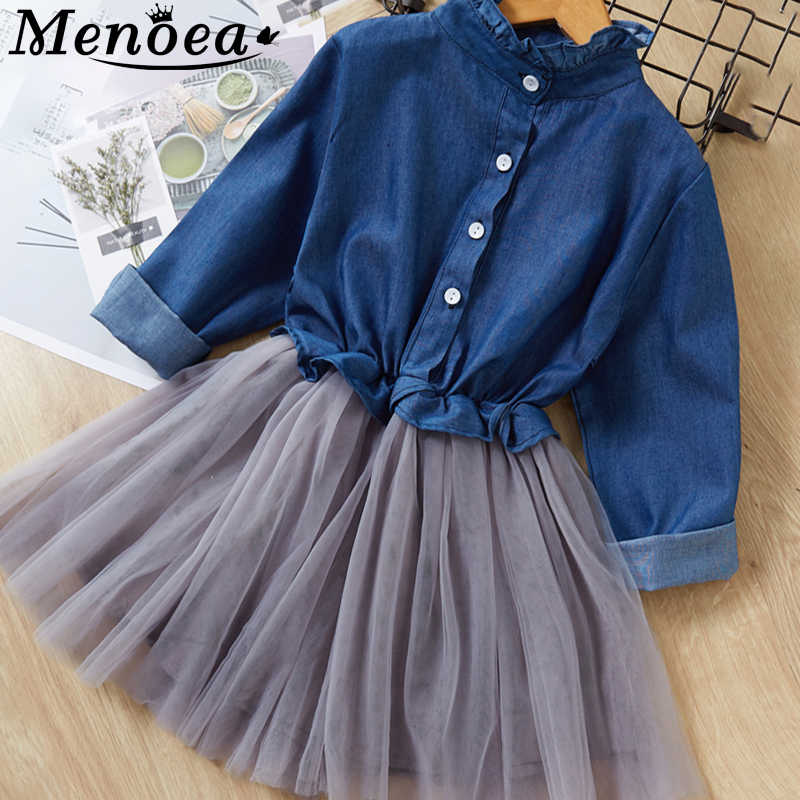 Menoea Girl Mesh Dress 2019 New Autumn Dresses Children Single-Breasted Clothing Cowboy Princess Dress Design 2-8Y Girl Dress