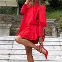 Kobiety wiosna Ruffles krótka sukienka stojak kołnierz jednolity kolor, długi rękaw czerwona sukienka wypoczynek panie luźny, szykowny biały sukienka biurowa 2021