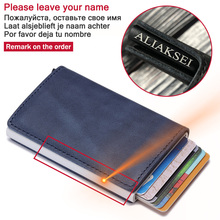 Anti-theft Clutch Single Box Men Women Wallet 2020 New RFID Blocking Card Holder Denim Business Pop-up Metal ID Case