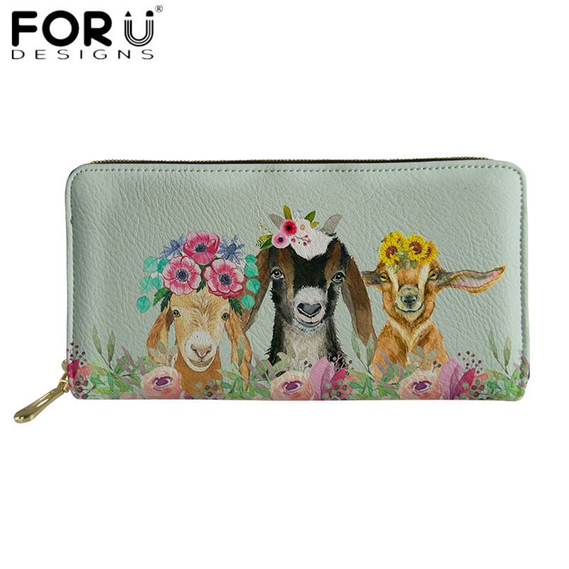 FORUDESIGNS Goat Flowery Zipper Wallets For Women Fashion Long Leather Wallet Cute Animal Print Clutch Purse Card Money Bags