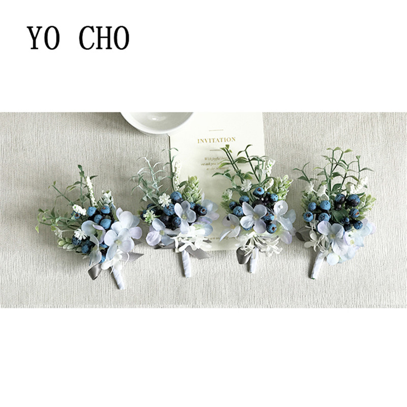 YO CHO High Quaity Woman Wrist Corsage Noble Royal Blue Bridesmaid Sister Wrist Corsage Bracelet Wedding Accessories