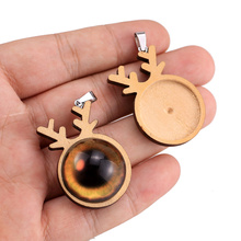 10pcs/lot Christmas Elk Wood Cabochon Base 25mm Dia Blank Wooden Pendant Trays Diy Jewelry Accessories for Necklace Making