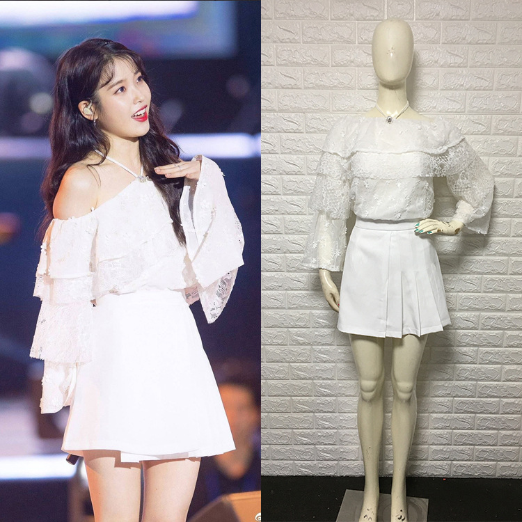 Kpop IU Lee Ji Eun Hanging Neck Off-shoulder White Lace Tops And Mini Skirt Two Piece Female Summer Sweet 2 Piece Set Clothes