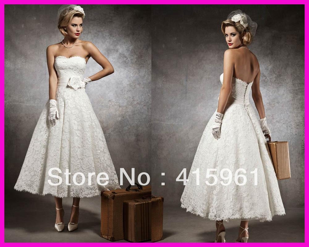 Ivory Summer Robe De Mariee Vestido De Festa Longo Lace Ankle Length Bridal Gown Wedding Dress 2019 Sweetheart Vestido De Noiva