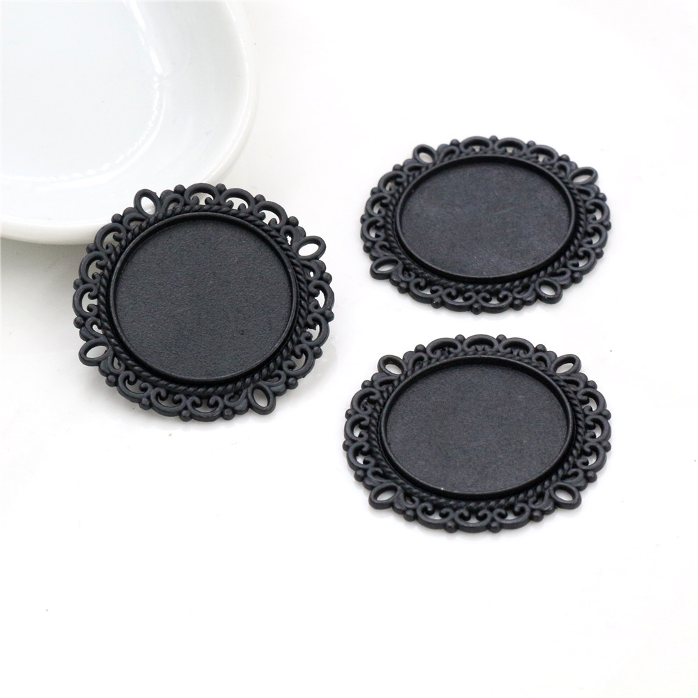 4pcs 20mm Inner Size Black Plated  Simple Style Cabochon Base Setting Charms Pendant (D3-71)