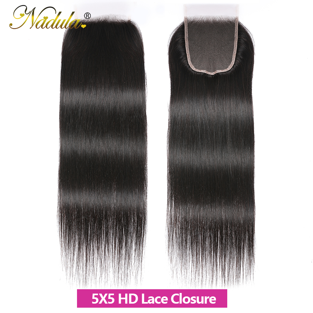 Nadula Hair HD Lace Closure Middle/Free Part Closure Indian Straight Hair Natural Color  Hair 10-20Inch Swiss Lace Closure 5