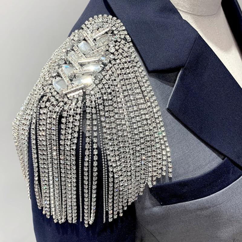 2 шт., броши с кисточками и бусинами, с кристаллами, на плечах