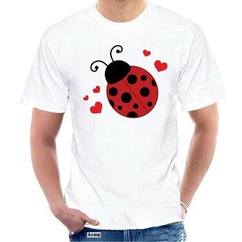 T Shirt Inktastic Lady Bug ve kalpler kadın T-Shirt uğur böceği sevgilisi böcekler için sevimli yeni moda Tee gömlek 5349W