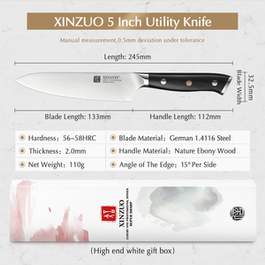 """Image 2 - XINZUO 5"""" inch Utility Knife GERMAN 1.4116 Steel Best Kitchen Knife New Parer Fruit Knife with Ebony Handle Kitchen Accessories"""