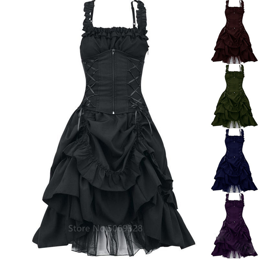 Vintage Sexy Woman Halter Dresses Medieval Steampunk Gothic Style Palace Princess Clothes Lace Up Party Halloween Evening Dress