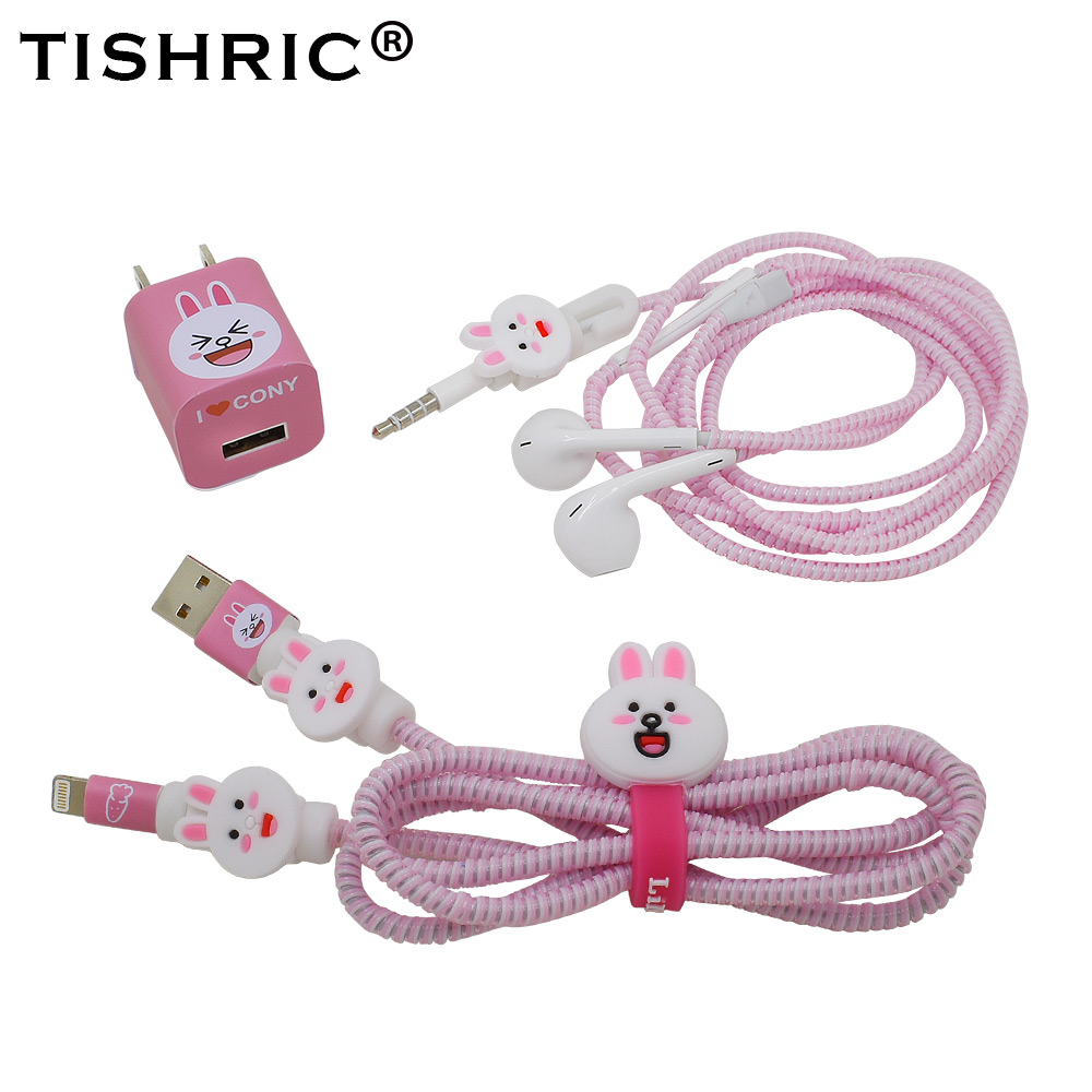 TISHRIC <font><b>4IN1</b></font> Cute Anima Earphone protector <font><b>USB</b></font> <font><b>Cable</b></font> Protector Wire Holder <font><b>Cable</b></font> For Iphone Random shipments image