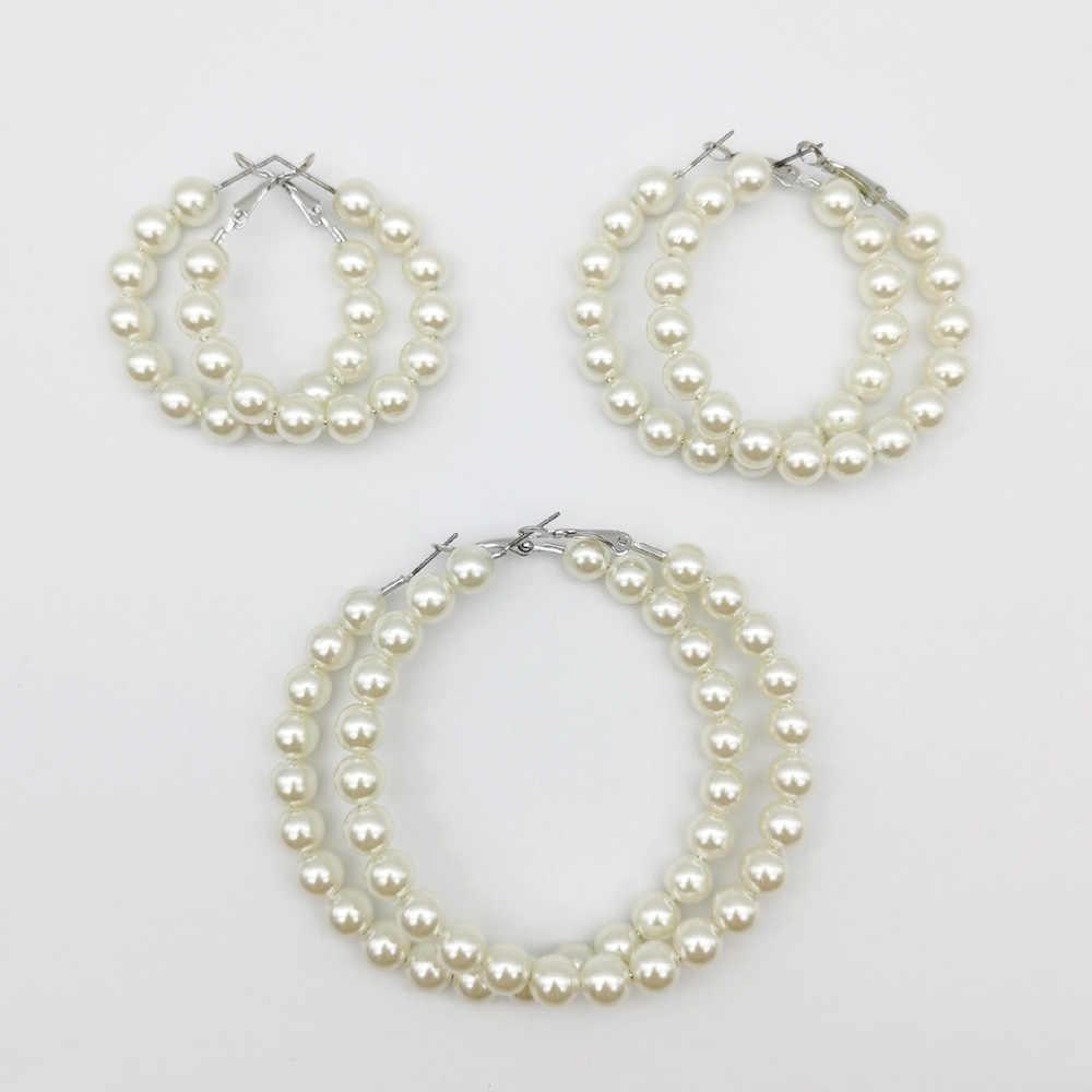 ผู้หญิง Elegant สีขาวไข่มุกรอบวงกลม Hoop ต่างหู OVERSIZE Pearl Circle แหวนหูต่างหูแฟชั่นเครื่องประดับ