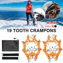 1 par 19-dentes crampons de neve de gelo anti-deslizamento escalada pinça pico grampos de gelo grampos para caminhadas e escalada