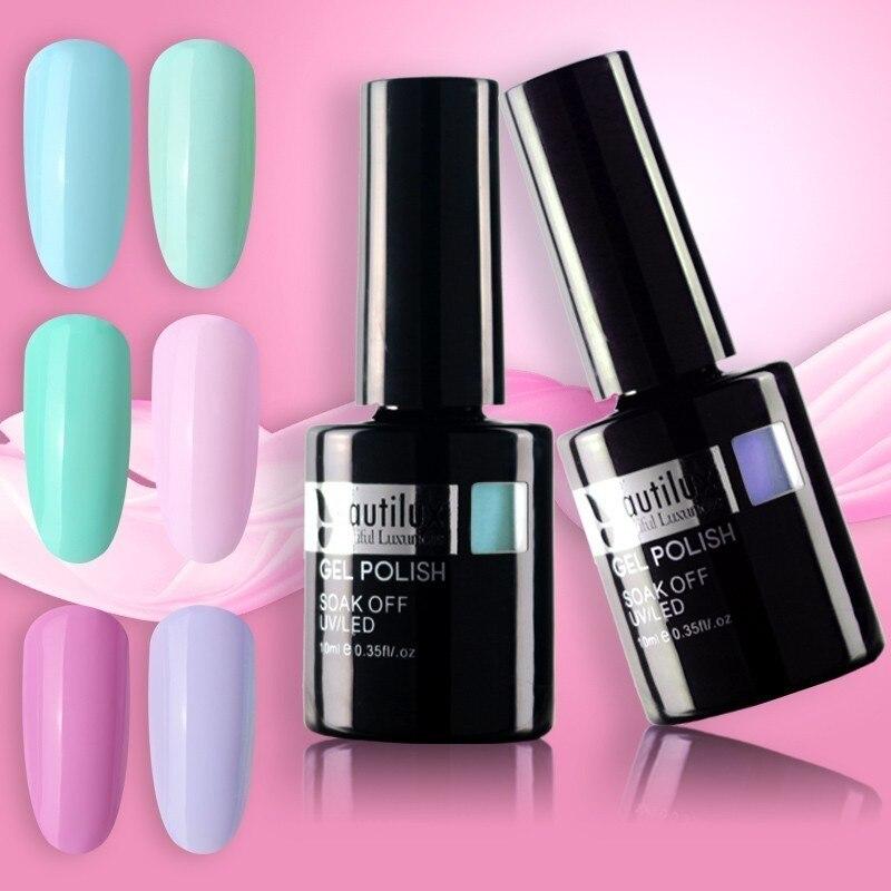 Beautilux 1pc Light Color Spring Flower Blue Green Pink Gel Nail Polish UV LED Soak Off Nails Art Gel Polish Varnish 10ml