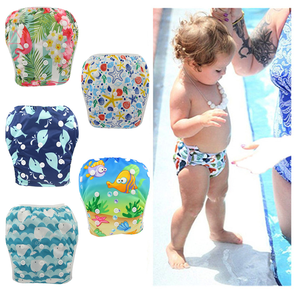 Ohbabyka Washable & Adjustable Baby Swim Diaper Swimming Lesson Pant Baby Shower Gifts Girls Boys Swimwear Reusable For Summer