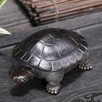 Collection Chinese Brass Carved Animal Turtle Tea Pet Discolored Turtle Longevity Turtle Beautiful Decoration Statue фото