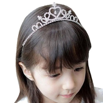 1PC Baby Girls Princess Hairband Kids Party Bridal Crown Kids Pearl Hair Clip Girls Pearl Design Headband Crystal Tiaras Crowns 1