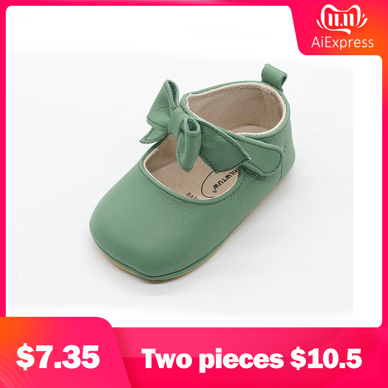 Hilwtuw Princess Solid Baby Shoe Butterfly Knot First Walkers Crib Shoes Anti-slip Prewalker Walking Toddler Kids Shoes Pink