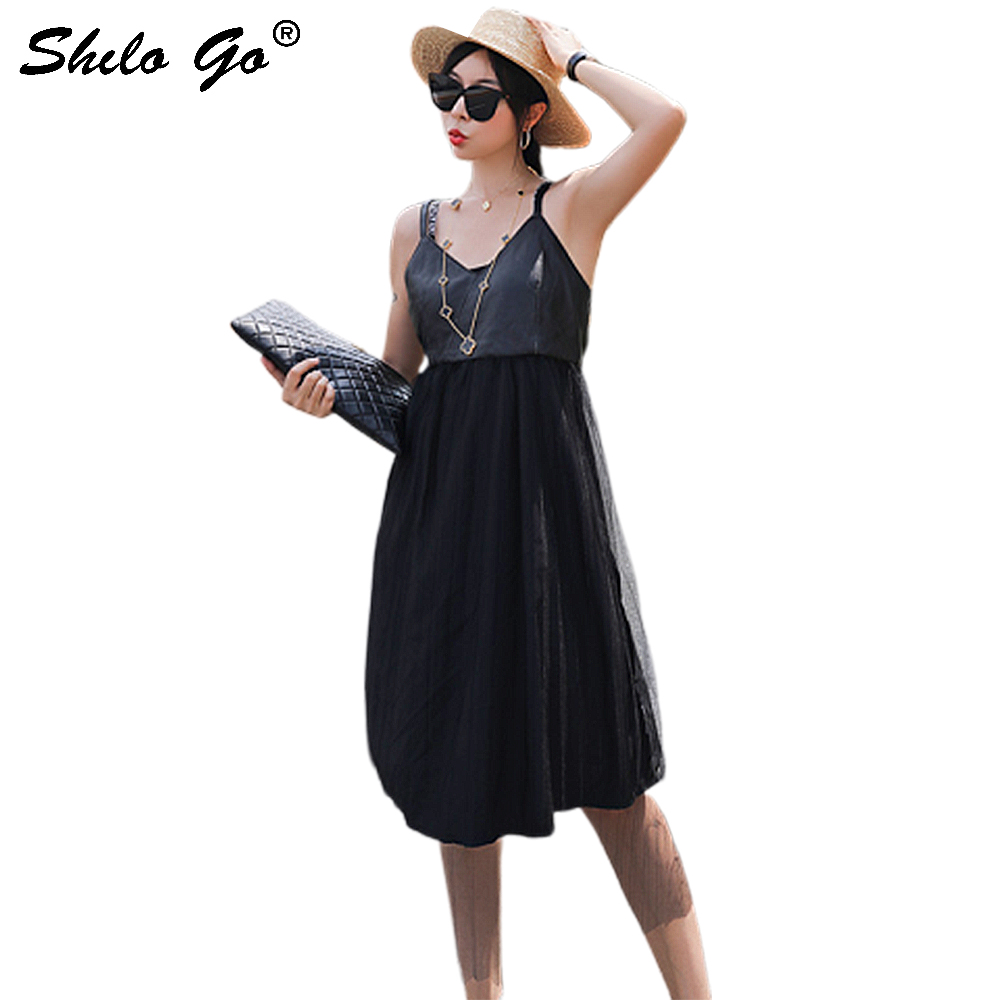 Robe en cuir véritable glamour col en v maille ourlet taille goutte Spaghetti sangle Sexy robe femmes vêtements vacances sans manches robes